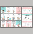 monthly creative calendar 2018 with cute dogs vector image vector image