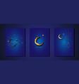 ramadan kareem 2021 set blue gold greeting cards vector image vector image