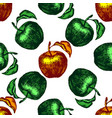 seamless apple sketch pattern hand drawn vector image