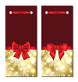 Set holiday glowing cards with gift bows vector image vector image