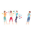 slim and athletic girls and their fat girlfriend vector image vector image