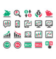 stock market online icon set vector image