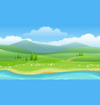 summer hills and river panorama vector image
