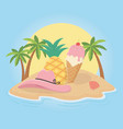 summer poster with pineapple and ice cream in vector image vector image