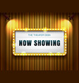 theater sign gold frame on curtain with spotlight vector image vector image