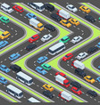 urban cars seamless texture isometric roads and vector image vector image
