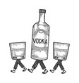 vodka walks on its feet sketch engraving vector image vector image