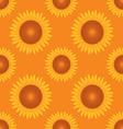 seamless sun flower pattern orange background vector image
