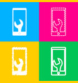 phone icon with settings four styles of icon on vector image