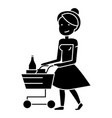 woman shopping in supermarket with cart icon vector image