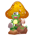 A smiling frog near the giant mushroom vector image vector image