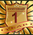 anniversary 1 th label with ribbon vector image