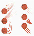 basketball flying balls with speed motion trails vector image