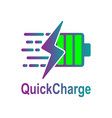 battery charging icon quick and fast vector image