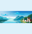 beautiful scenery mountain lake and a houses on vector image vector image