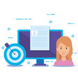 businesswoman with social media marketing icons vector image vector image