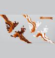 caramel milk and chocolate splash 3d vector image