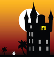castle in the twilight with white rabbit vector image vector image