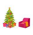christmas tree many presents and cozy armchair vector image