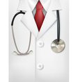 Close up of a doctors lab white coat and vector image vector image