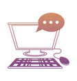 computer with speech bubble icon vector image vector image