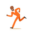 criminal black man in an orange uniform is running vector image vector image