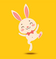 cute cartoon bunny in a red bow tie is jumping vector image
