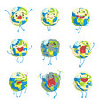 cute funny world earth emoji showing different vector image