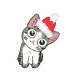 cute kitten in a santa hat funny cat christmas vector image