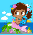 cute mermaid sea vector image vector image