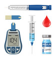 diabetes and insulin icons set vector image