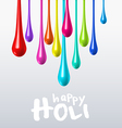 Dripping colors on holi festival vector image