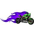 fiery green motorcycle racing vector image vector image