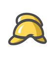 firefighter helmet yellow icon cartoon vector image