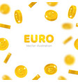 flying gold euro cartoon frame vector image vector image