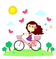 Girl Enjoy Riding Bicycle With The Butterflies vector image