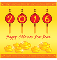 Happy Chinese new year 4 red lanterns vector image