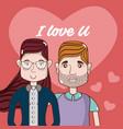 i love you card couple cartoon vector image