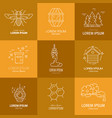 logos with honey vector image vector image