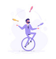 man is riding on unicycle and juggling tasks vector image vector image