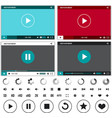 Media players with video controls buttons set vector image