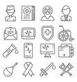 medical line icons set on white background vector image