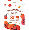 poster for halloween party with pumpkins vector image