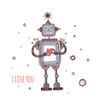 robot with heart i love you vector image