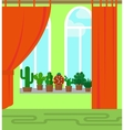 Room with window and cactus vector image