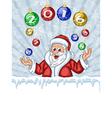Santa Claus juggling Christmas Tree decorations vector image vector image