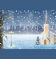 scenery winter in church christmas night vector image