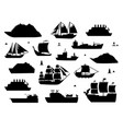sea ship silhouettes boats adapted to open vector image