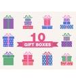 set colorful gift box symbols vector image