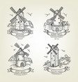set farm landscapes with windmills views vector image